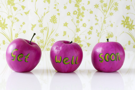 get well: Get well soon card with handpainted pink apples