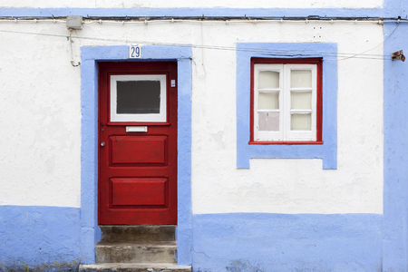 Old Portuguese facade with door and window