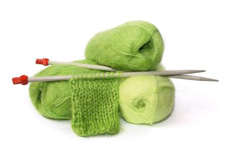コイル グリーン モハーやサンプル接続針編み