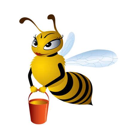Vector illustration cartoon bees gathering honey