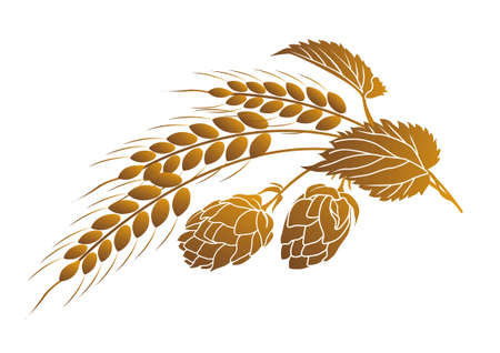 Iillustration van hop en oren van tarwe