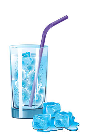Vector illustration of a glass of mineral water and melting ice Illustration