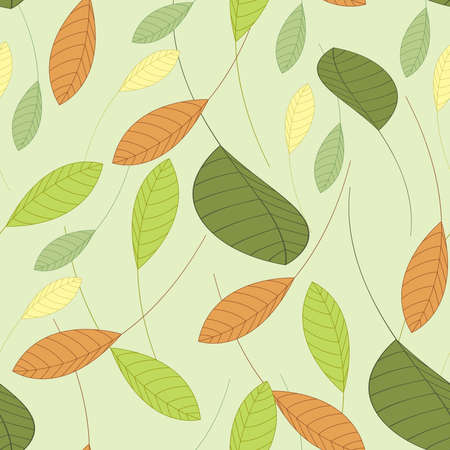 seamless background with leaves in shades of green Illustration