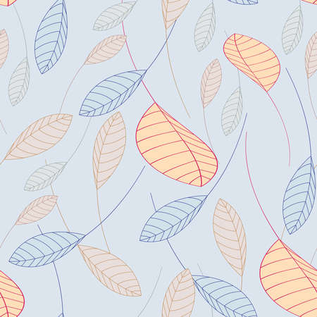 repeating seamless pattern falling leaves on a blue background