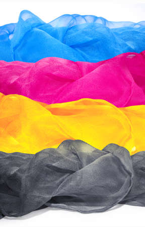 Vier Luftseidentuch in den Farben CMYK. Hintergrund für Banner, Karte, Poster, Web-Design Standard-Bild