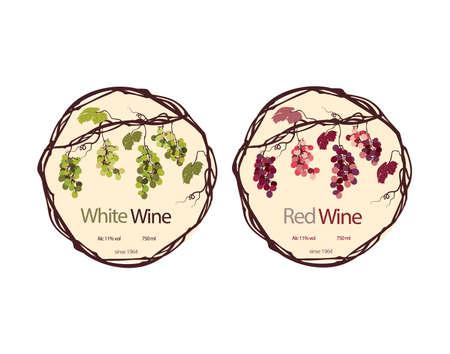 Tiquette pour le vin rouge et blanc Banque d'images - 46023172