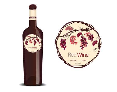ボトルの赤ワインとサンプルのラベル配置  イラスト・ベクター素材