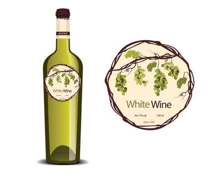 ボトルの白ワインとサンプルのラベル配置