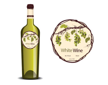label for white wine and a sample placed on the bottle Illustration