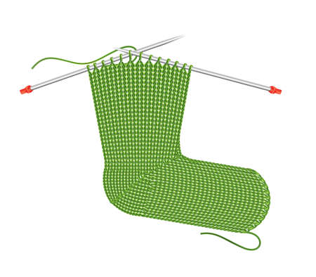 Green knitted sock on the needles