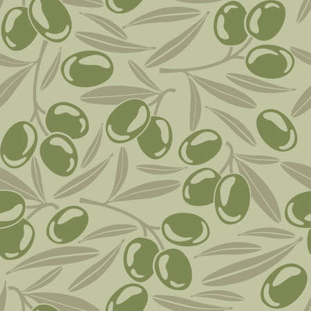 siluet: Seamless background with green olives Illustration