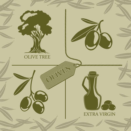 set of four symbols on the theme of olives and oil Illustration
