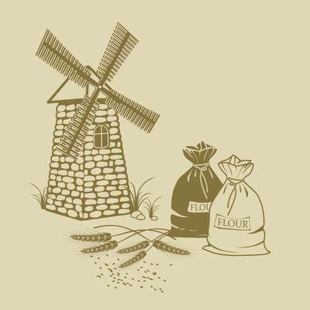 sacks: hand-drawn Vector illustration of ears of wheat sacks of flour and windmill