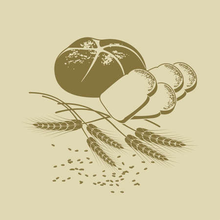 hand-drawn Vector illustration of rye bread, toast bread and cereals Illustration