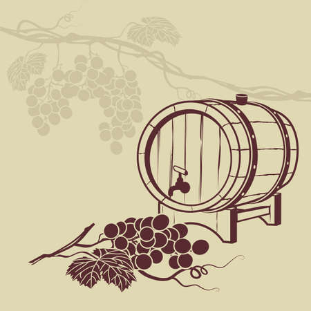 barrels: Template background for menu with a barrel of wine and a bunch of grapes