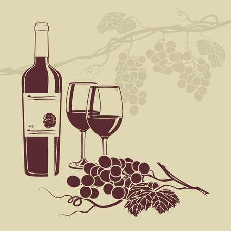 bouteille de vin: modèle de base pour la carte des vins Illustration