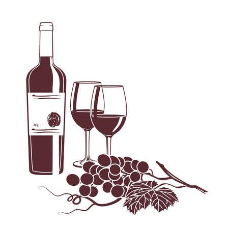 白い背景の上のワインのカードの白黒イラスト