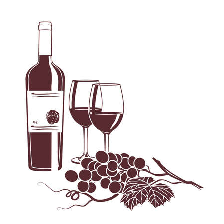 wine card: Monochrome illustration for wine card on a white background
