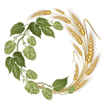 ホップとビールのラベルに小麦イラスト