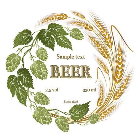 cerveza: lúpulo y la ilustración de trigo para la etiqueta de la cerveza