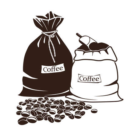 drawed: sacks with coffee and coffee beans