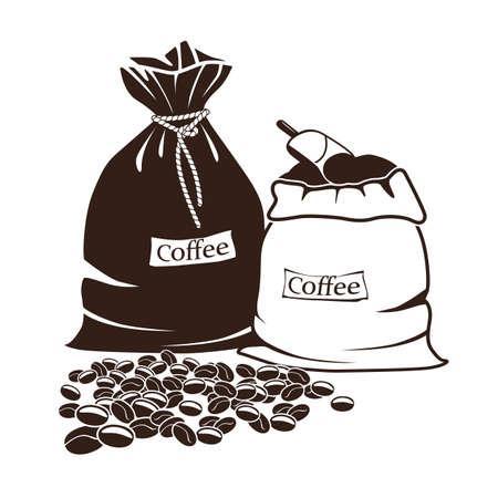 sacks with coffee and coffee beans