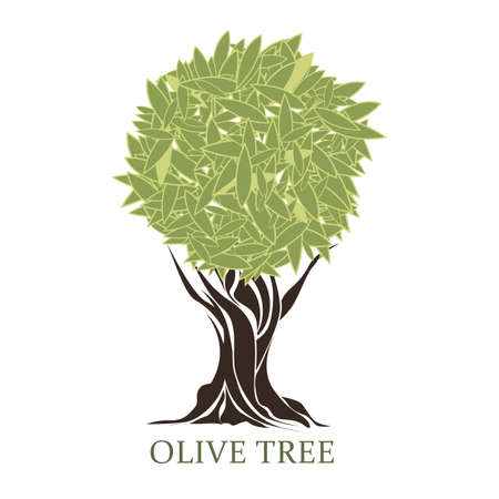 trees silhouette: logo in the form of a stylized olive tree