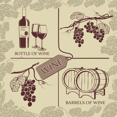 raceme: Set symbols on the theme of grapes, red wine and winemaking