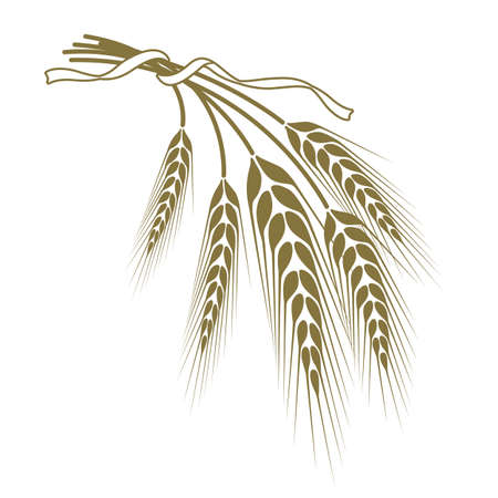 reap: spikelets of wheat tied with a ribbon