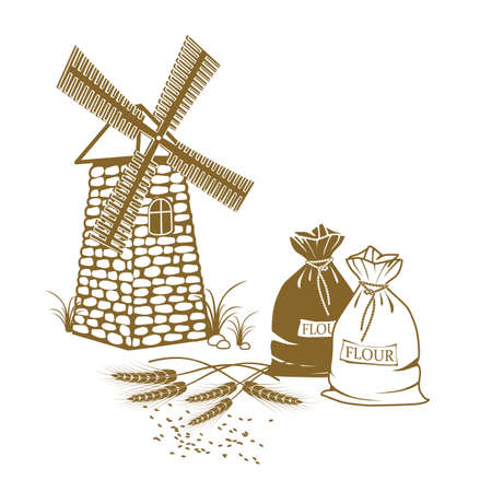 flour mill: Vector illustration of ears of wheat, sacks of flour and windmill on the white background
