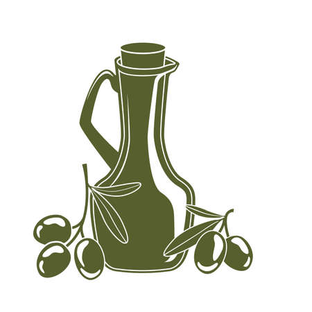 cruet: bottle of olive oil and olive branches