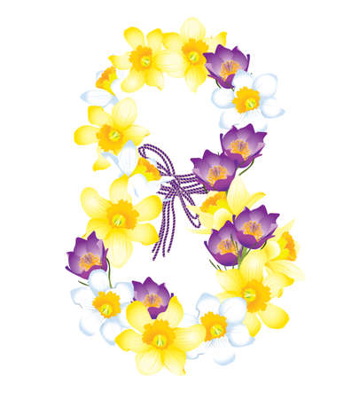 Greeting card with March 8, flowers daffodils and crocuses Illustration