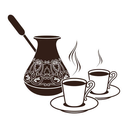 isolated: hot Turkish coffee pots in two cups