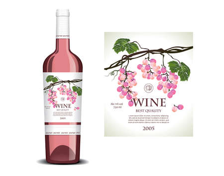Conceptual label for rose wine Vector Illustration