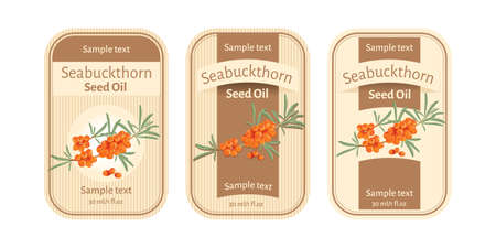Set of labels for seabuckthorn seed oil  イラスト・ベクター素材