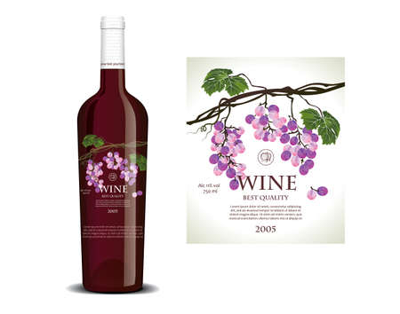 winy: Conceptual transparent label for red wine Illustration