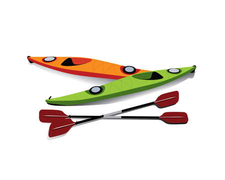 Flat illustration of two kayaks with oars on shore Иллюстрация