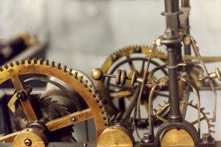 Close-up of the gear of the big clockwork mechanism in operation