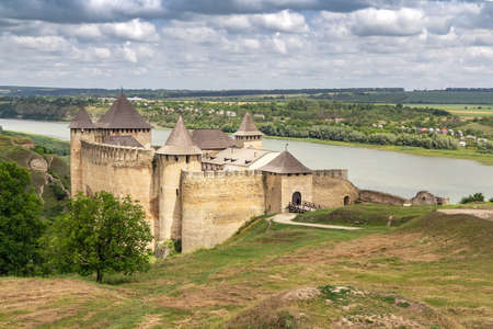 Historical medieval fortress Khotyn town on the banks of the Dniester River, the castle is the seventh Wonder of Ukraine. Stock Photo
