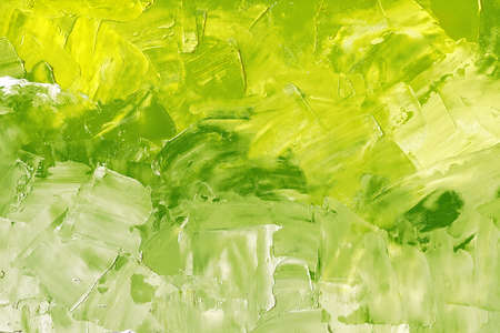 Abstract background texture in green tones, brush strokes with oil paints on canvas