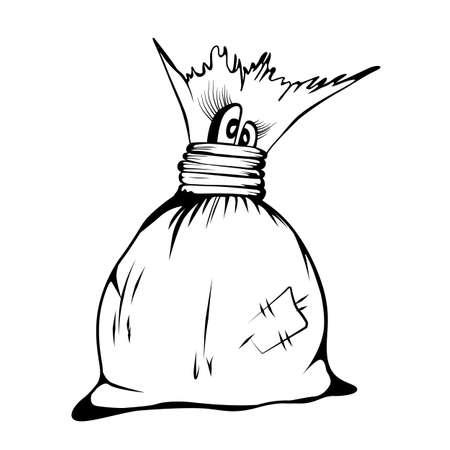 Comic cartoon character cute Sack, sketch vector illustration