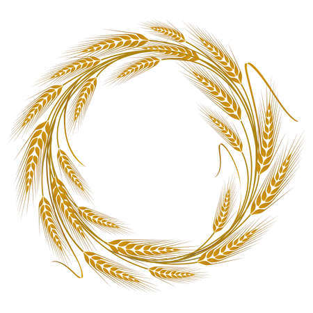 Circular frame wreath of wheat ears Illustration
