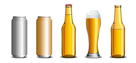 Realistic set of beer mock up, glass, bottle, aluminum can.