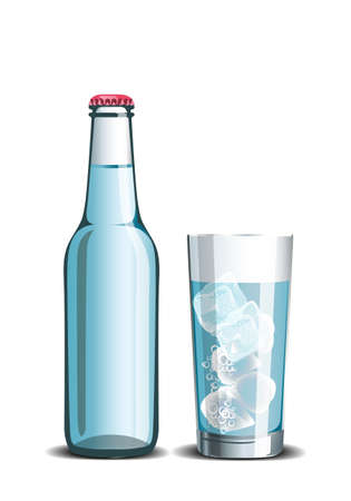 Realistic set of mineral water, full bottle and drink in a glass with ice cubes Illustration