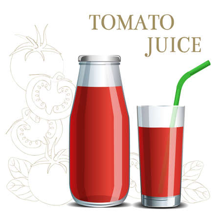 Realistic tomato juice in a jar and a glass with a straw on the background of a sketch of fruit for design menu