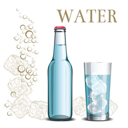 Bottle of water and a glass on the background of sketch ice and bubbles, an illustration for a menu Illustration