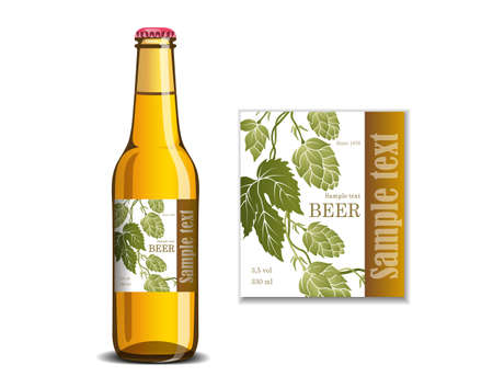 Beer label on the glass bottle mock-up illustration. Ilustrace