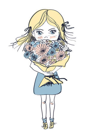 Little freckles girl with big bouquet of flowers, vector illustration