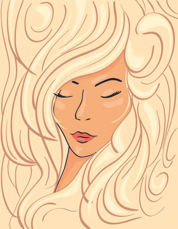 Beautiful face of a blonde girl in thick wavy hair, vector illustration