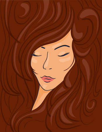 Beautiful face of a brunette girl in thick wavy hair, vector illustration Illustration